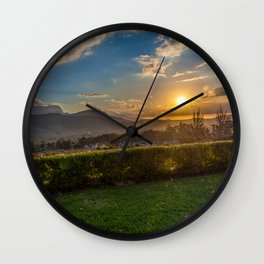 Sunset in Wine Country, Franschhoek, South Africa Wall Clock