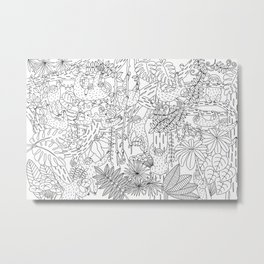 Happy Sloths Jungle - Line Art Metal Print
