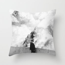 Turmoil in the Clouds-Black and White Throw Pillow