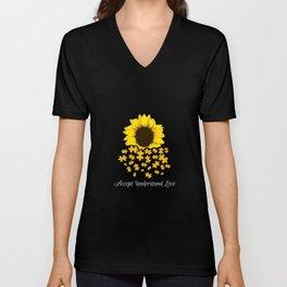Retro Autism Awareness Love Graphic Tee Shirt GiftAccept Understand Love Sunflower Puzzle Men Unisex V-Neck