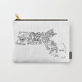Massachusetts - Hand Lettered Map Carry-All Pouch