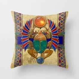 Sarcophagus 3d Egyptian Folk Art Throw Pillow