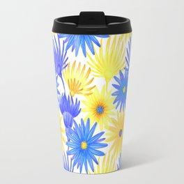 Modern blue yellow watercolor hand painted flowers Travel Mug