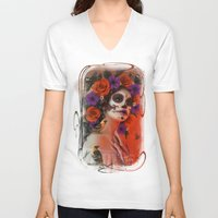 day of the dead V-neck T-shirts featuring Day of the Dead by Cellesria /Tanya Varga - Digital Artist