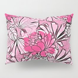 Hot pink watercolor water lilies artistic floral pattern Pillow Sham