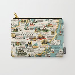 1935 Vintage Pictorial Map of New Jersey Carry-All Pouch