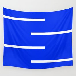Abstract Minimal Retro Stripes Blue Wall Tapestry