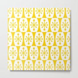 Mid Century Modern Atomic Fusion Pattern Yellow Metal Print