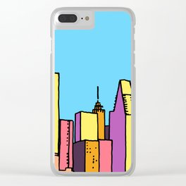 architecture art, new york city illustration, new york skyline, Clear iPhone Case