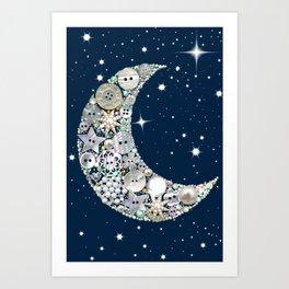 Vintage button Moon Art Print