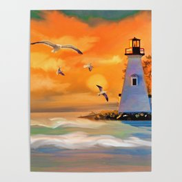 Watercolor Sunset Lighthouse (Color) Poster