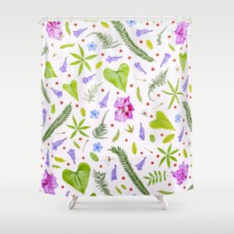 Leaves and flowers (8) Shower Curtain