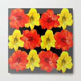 DECORATIVE RED & YELLOW AMARYLLIS FLOWERS Metal Print