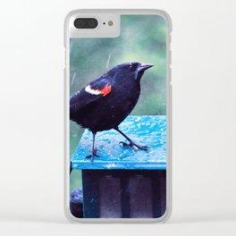 Blackbird In Rain Clear iPhone Case