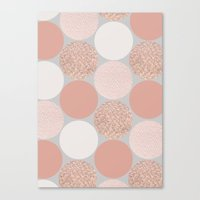 gold dots Canvas Prints featuring Rose Gold Dots by Georgiana Paraschiv