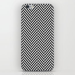 Classic Black & White Herringbone Pattern iPhone Skin