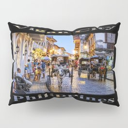 Rush Hour in Vigan City (on black) Pillow Sham