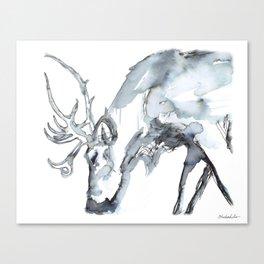 Watercolor Reindeer Sketch Canvas Print