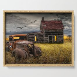 The Death of the Small American Farm with Abandoned Truck and Farm House Serving Tray