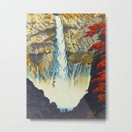 Waterfall At Nikko Kasamatsu Shiro Japanese Woodblock Painting Asian Beautiful Ink Cultural Historic Metal Print