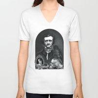 edgar allan poe V-neck T-shirts featuring Edgar Allan Poe Portrait by Eeriette