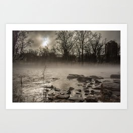Moon peaks out over a foggy Brandywine River Art Print