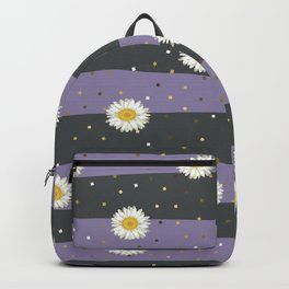 Daisy Flower seamless White and Yellow pattern and Gold Confetti on Gray and Purple Stripes Background Backpack