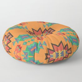 Misc shapes on an orange background Floor Pillow