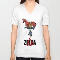 akira V-neck T-shirts featuring Zelda/Akira by Henrique Jardim