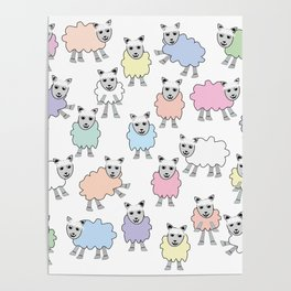 Colorful Counting Sheep Bedtime Pattern Poster
