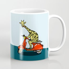 Giraffe riding a moped Coffee Mug