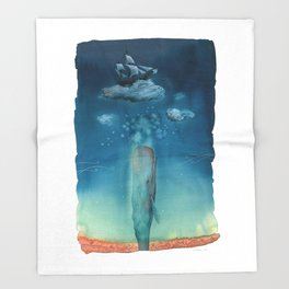 Moby Dick Dreams - Watercolor - Sperm Whale Throw Blanket