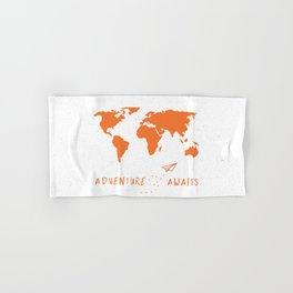 Adventure Map - Retro Orange on White Hand & Bath Towel