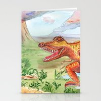 t rex Stationery Cards featuring T-Rex by Catherine Holcombe