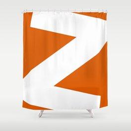 Sans Serif Z. White on Red Orange. Shower Curtain