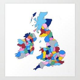 England, Ireland, Scotland & Wales Art Print