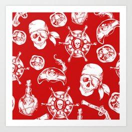 Red Pirate Pattern Art Print