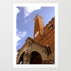 Clock Tower in Sienna Art Print
