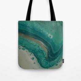 Sea Foam, Abstract Fluid Acrylic Paint Tote Bag