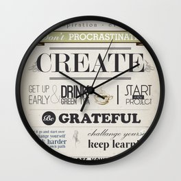 CREATE - inspirational words for you Wall Clock