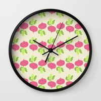 vegetable Wall Clocks featuring VEGETABLE-RADISH! by Claudia Ramos Designs