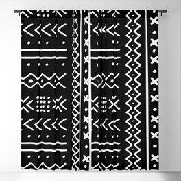 Black hand drawn mudcloth Blackout Curtain
