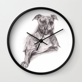 Pit Bull Portrait in Charcoal Wall Clock