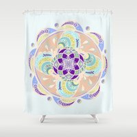 buddhism Shower Curtains featuring Daisy Lotus Meditation by DebS Digs Photo Art