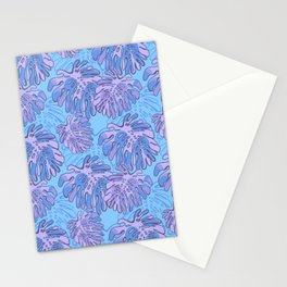 Tropical  Monstera Leaves Purple and Blue Stationery Cards