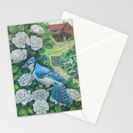 Blue Jay and White Roses Stationery Cards