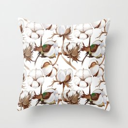 Cotton Flower Pattern 02 Throw Pillow