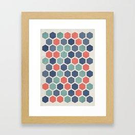 Honeycomb Geometrics, Vintage, Throw-Pillows, Art-Prints Framed Art Print