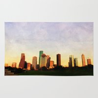 houston Area & Throw Rugs featuring Houston Skyline by Tracy Carlson Photography