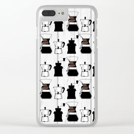 variety of classic, vintage, coffee,  grinder illustration Pattern print Clear iPhone Case